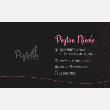 Peyton's Business Card Front and Back